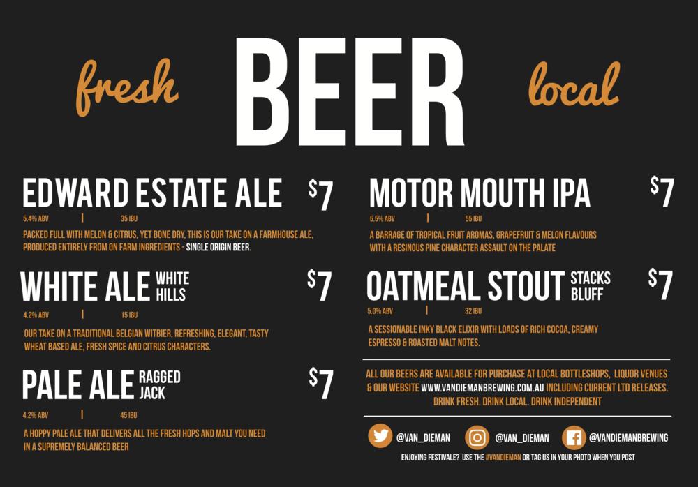 2018 Beer Menu - Stall 74
