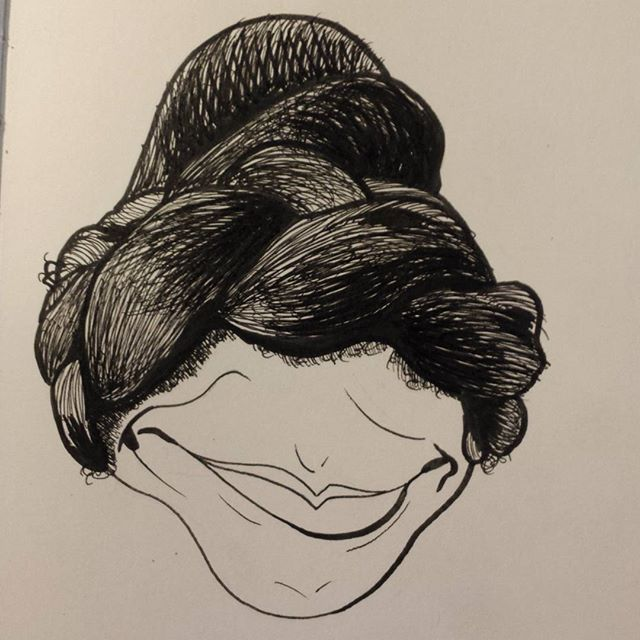 #drawing #art #details #micron #ink #instagood #inklines #hair #braids #bun #moleskine #portrait #caricature