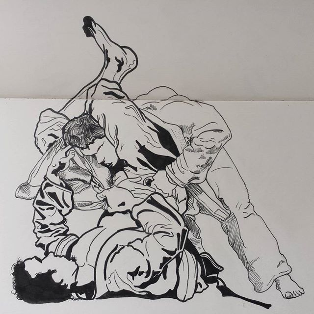 #bjj #jiujitsu #bbjj #triangle #trianglechoke #gi #inktober #showtheart #art #drawing #micron #moleskine #inklines