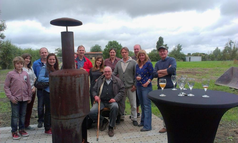 Na de rondgang van Brouwerij Feys met Pierre Feys (zittend) en Hendrik Nelde