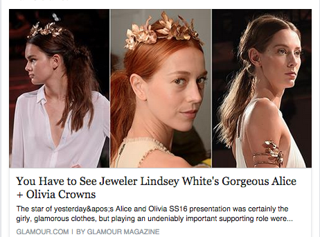 COVERAGE ON ALICE AND OLIVIA'S CROWNS. GLAMOUR MAGAZINE