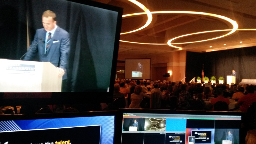 Peyton Manning, giving a great speech to fans, young and old regarding leadership.