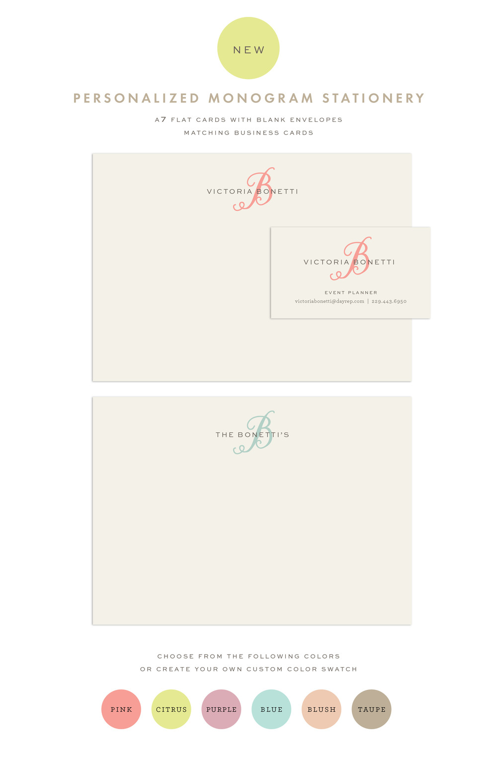 Anchor Point Paper Co. Personalized Monogram Stationery