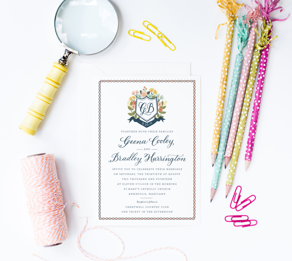 Anchor Point Paper Co. Monogram Wedding Invitations