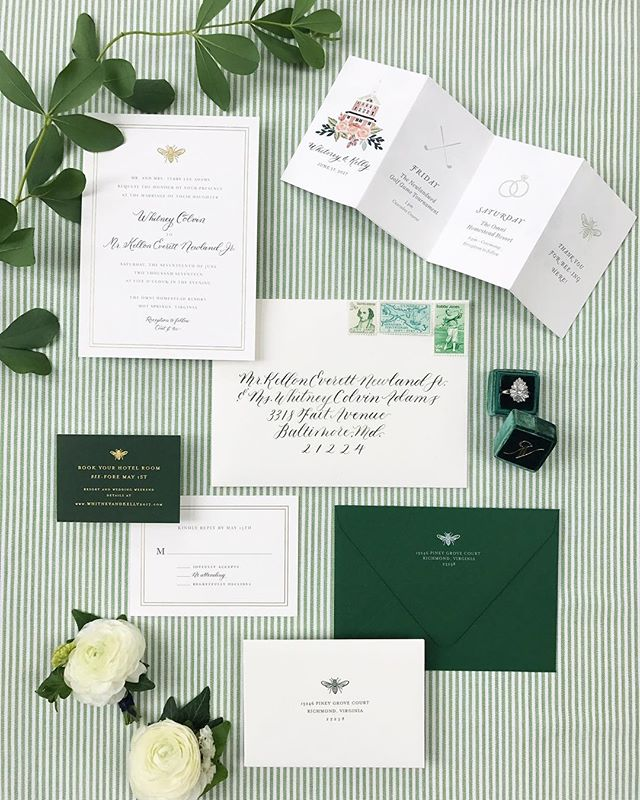 I had so much fun working on this invitation suite for @whitneycadams 😘 🐝 photography and styling by the talented @lisaziesing, event planning by @lemonandlimeeventdesign