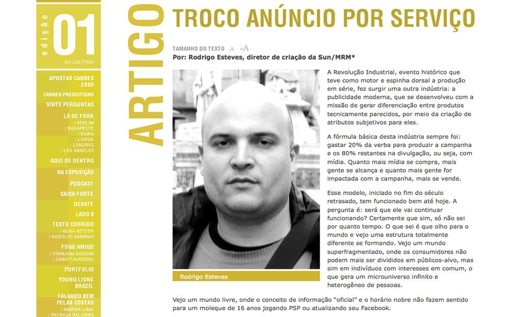 Artigo para a revista Pasta do Clube de Criação de São Paulo
