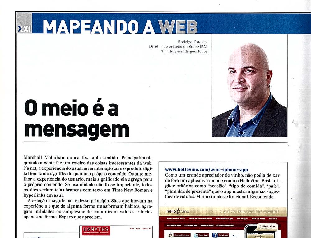 Seção Mapeando a Web da revista Proxxima