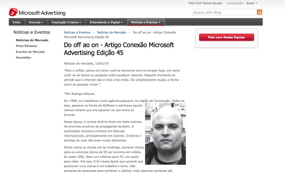 Artigo site Microsoft Advertising