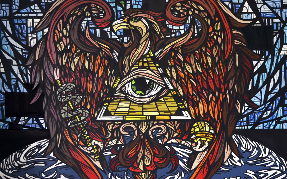Rise of the phoenix 2015 Acrylic on canvas. 150 x 200 cm. © Tom Herck