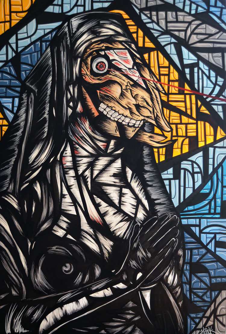 Nun Fiction 2015 Acrylic on canvas. 120 x 80 cm. © Tom Herck