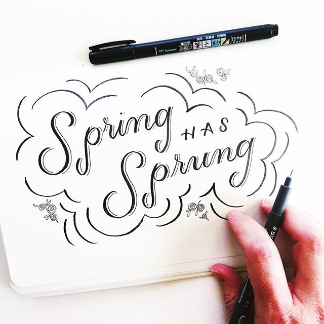 Just a quick little scribble to recognize the first day of spring. Here is Canada 🇨🇦 we can't wait for this date to come around - even though it's still -5 out and there's some frosty stuff out there.  Bring it on Spring, we're so ready for ya. 🌷  Also - I'm trying to give my handlettering some breathing room. Spring seems like a good time to focus on that, right?