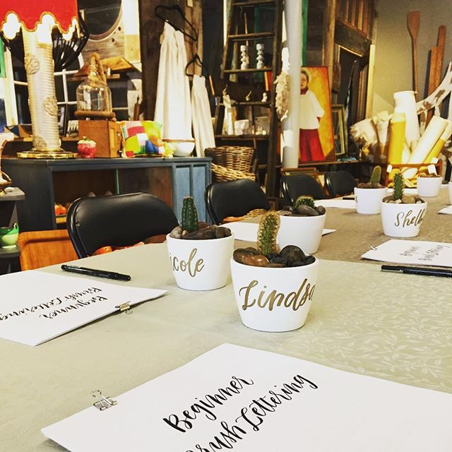 All set up for in the sweetest space for a brush pen workshop! 🌵  #margauxbucherletters #workshop #heartwoodhome