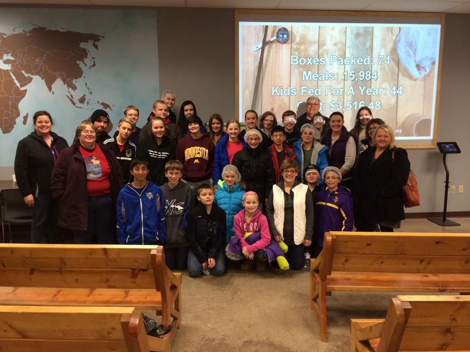 Confirmation service project: Feed My starving children, winter 2014