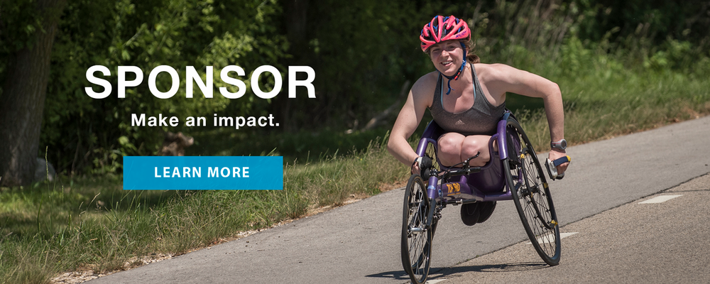 Athlete in a racing chair. Sponsor. Make an impact. Learn more.