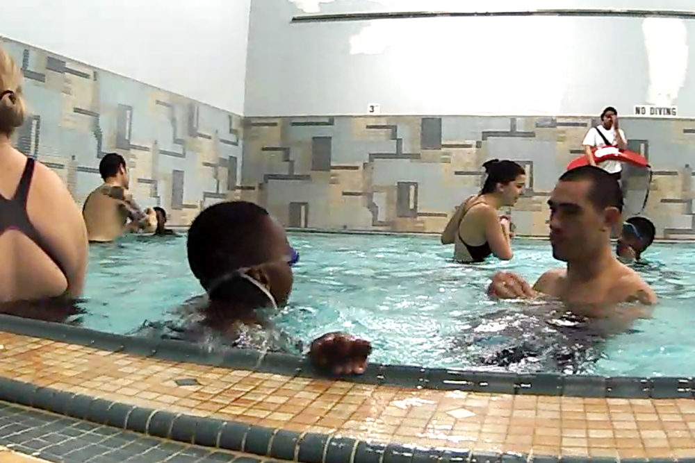 Kids in water at adaptive swim program.