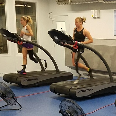 Hailey Danz running on a treadmill at the Paralympic training center.