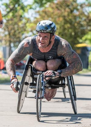 Athlete Eric Fife racing at Leon's Triathlon.