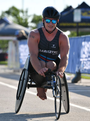 Dare2tri athlete Zach Young in his racing chair.