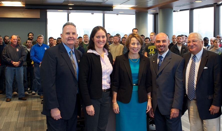 Left to right: John Dumas (IBEW 103 Business Manager), Elizabeth Saunders (Clean Water Action), Maura Healey (Candidate for Attorney General), Louis Antonellis (IBEW 103 President), George Bachrach (ELM Action Fund)