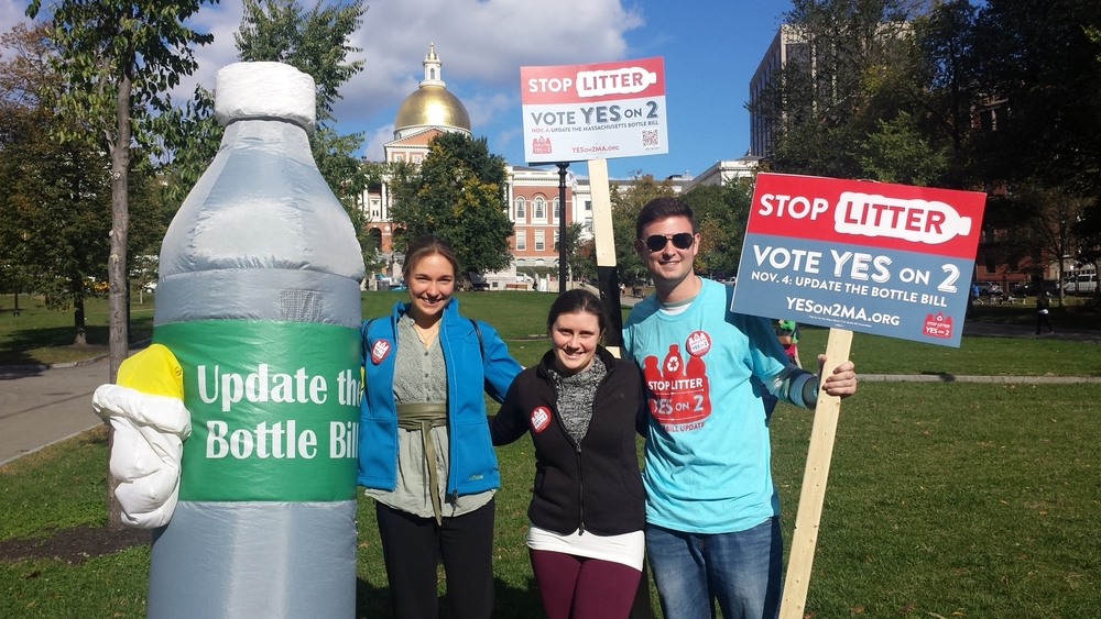 "We took part in an October rally on Boston Common with ""Bottle Bill "" to raise awareness about the importance of updating the Bottle Bill."