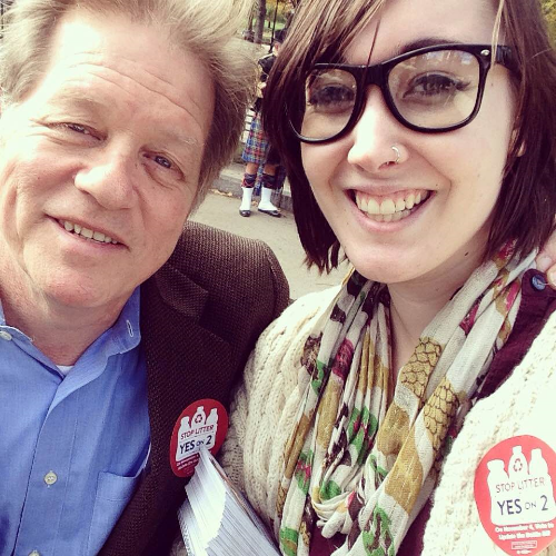 Emerson College undergraduate student Charlie Brewer (right) at a Bottle Bill Rally with Comedian and Bottle Bill supporter Jimmy Tingle (left)