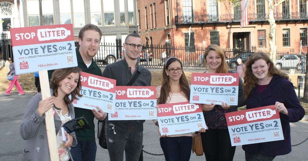 Suffolk University Graduate Student Jim Alexander (second from the left) at a Bottle Bill Rally