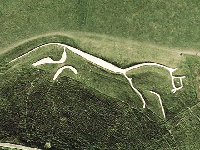 Picture USGS; of course this is the Uffington White Horse in Oxfordshire, but never let the facts get in the way of a good story (or picture)