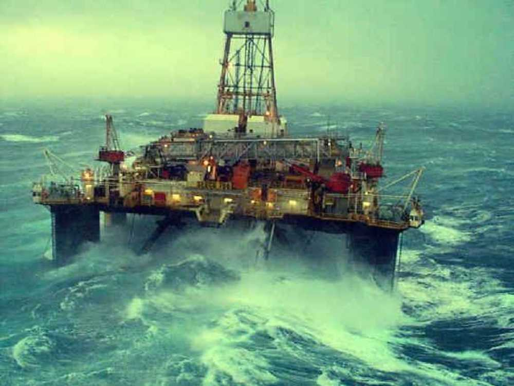Bob Clark Transocean, The Transocean semi-submersible drilling rig the Sedco 706, photographed from the Dunbar platform in the Northern North Sea during some inclement weather.