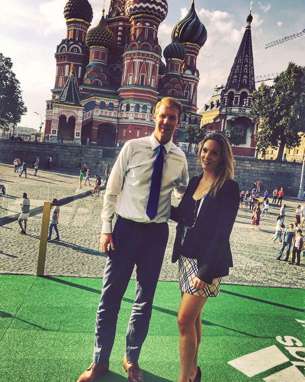 Lalas (left) and our woman in Russia, Gillian Kemmerer, in Moscow's famous Red Square.