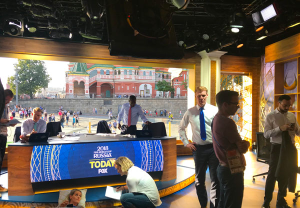 Alexi Lalas (wearing the dark blue tie) in Fox's World Cup studio in Red Square, Moscow.