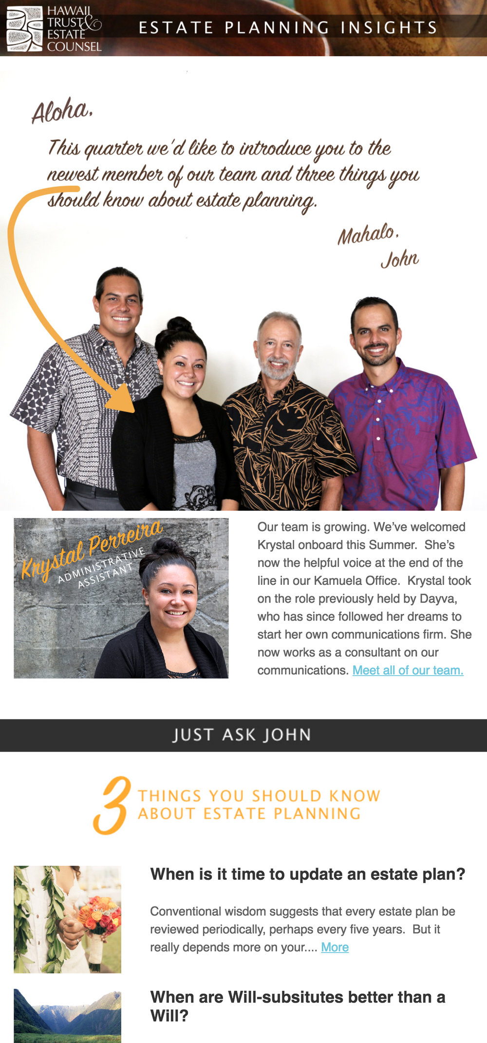 HAWAII TRUST AND ESTATE COUNSEL NEWSLETTER