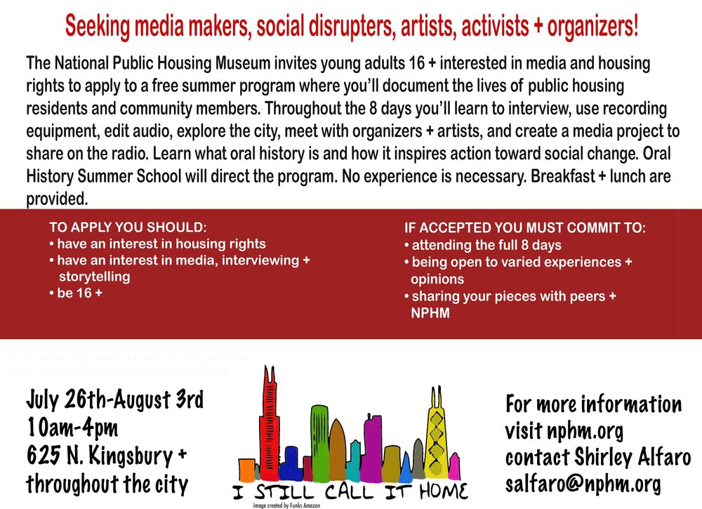 Deadline to apply is July 14th. In partnership with Oral History Summer School