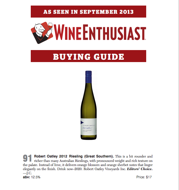 Wine Enthusiast ROSS Riesling 90pts Editor's Choice