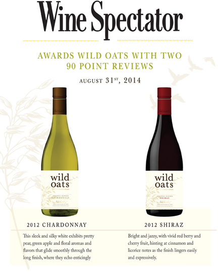 Wine Spectator Wild Oats Shiraz and Chardonnay 90pts