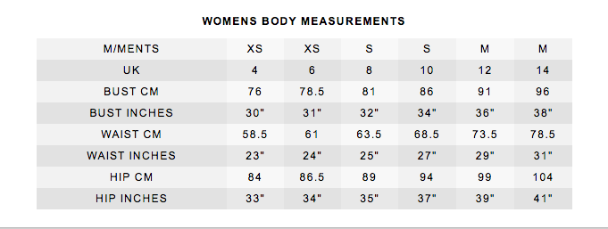 women's body size chart