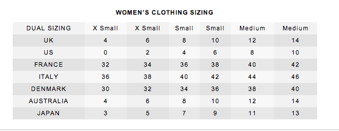 women's clothing size chart