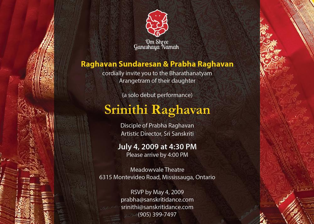 Arangetram Invites sris arts