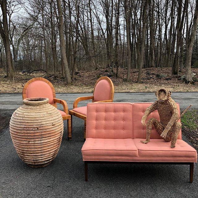 Unloading!  #load #fordtransit #pink #coral #florida #beach #summer #terracotta #wicker #monkey #jensrisom #tufted #color #interiors #home #design #interiordesign #stuff #vintage #decor #apartment