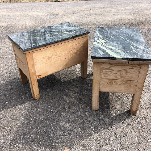 Marble top side low side tables. $450/pair. #marble #pine #timeless #antique #petite #tables #momandpop #shopsmall #inventory #stock #storage #springcleaning #design #home #furniture #furnish
