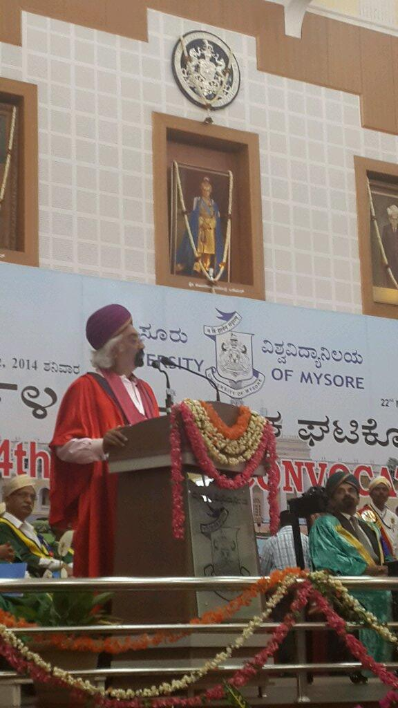 Convocation address at University of Mysore, March 2014