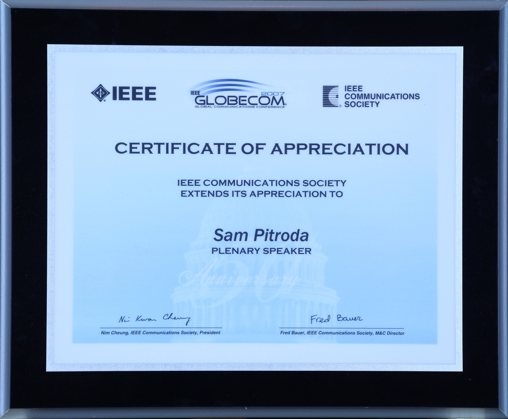 Appreciation Award, IEEE Communications Society