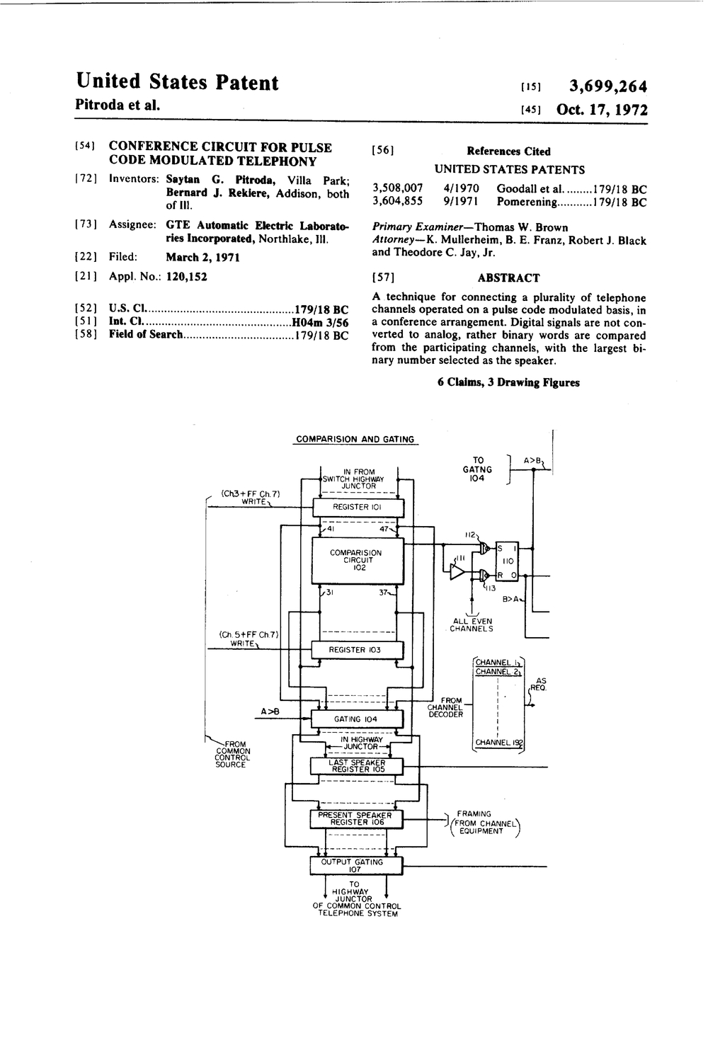 US3699264 Conference Circuit For Pulse Code Modulated Telephony.jpg
