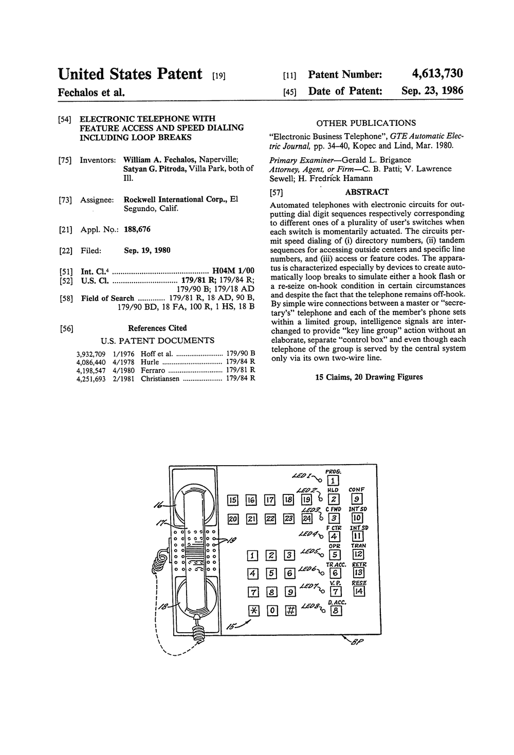 US4613730 Electronic telephone with feature access and speed dialing including loop breaks.jpg