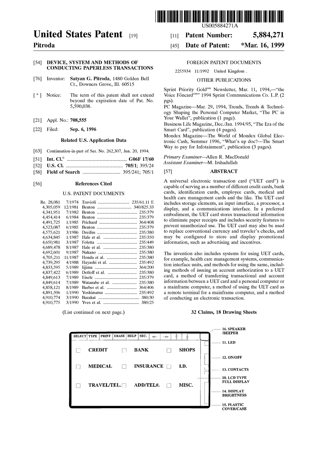 US5884271 Device, system and methods of conducting paperless transactions.jpg