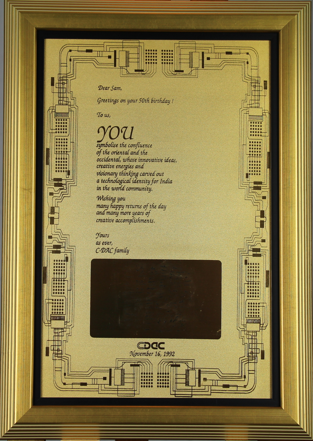 50th Birthday Present from C –DAC Family, 1992