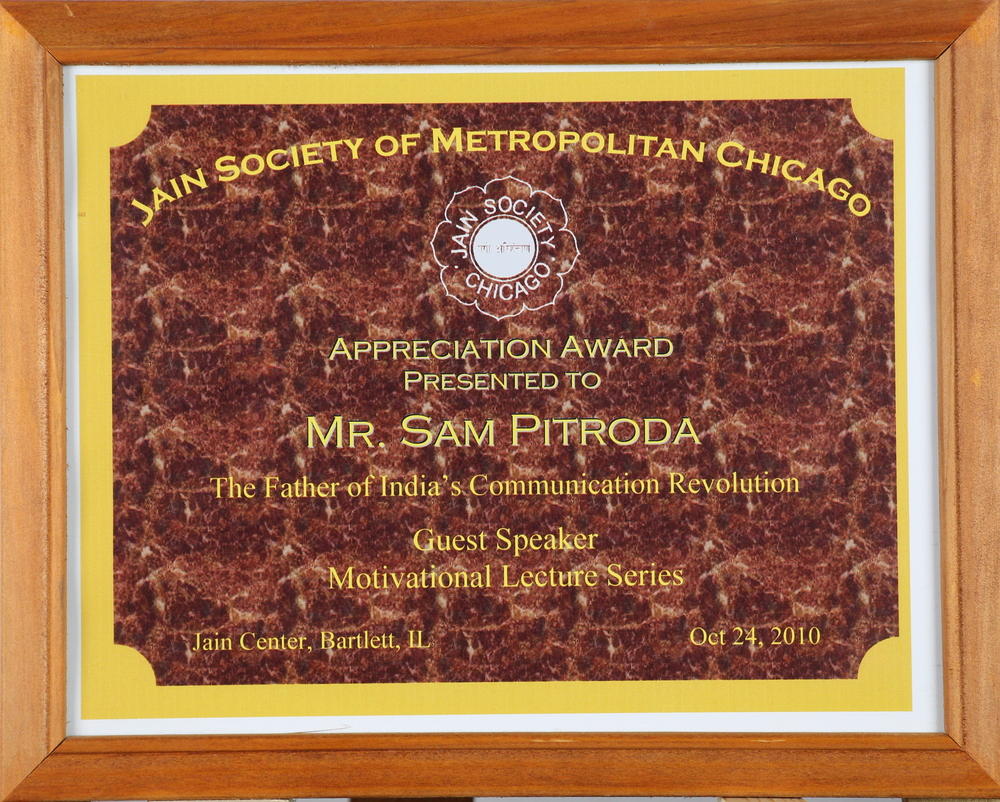 Appreciation Award, Jain Society of Metropolitan Chicago, 2010