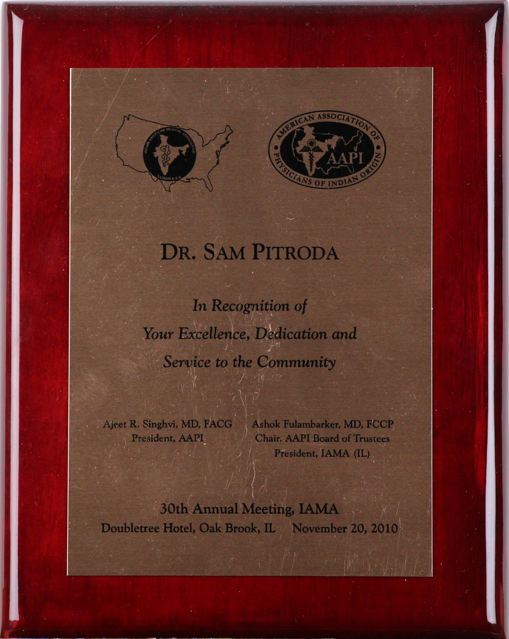 Special Recognition Award, 30th Annual Meething, IAMA, 2010