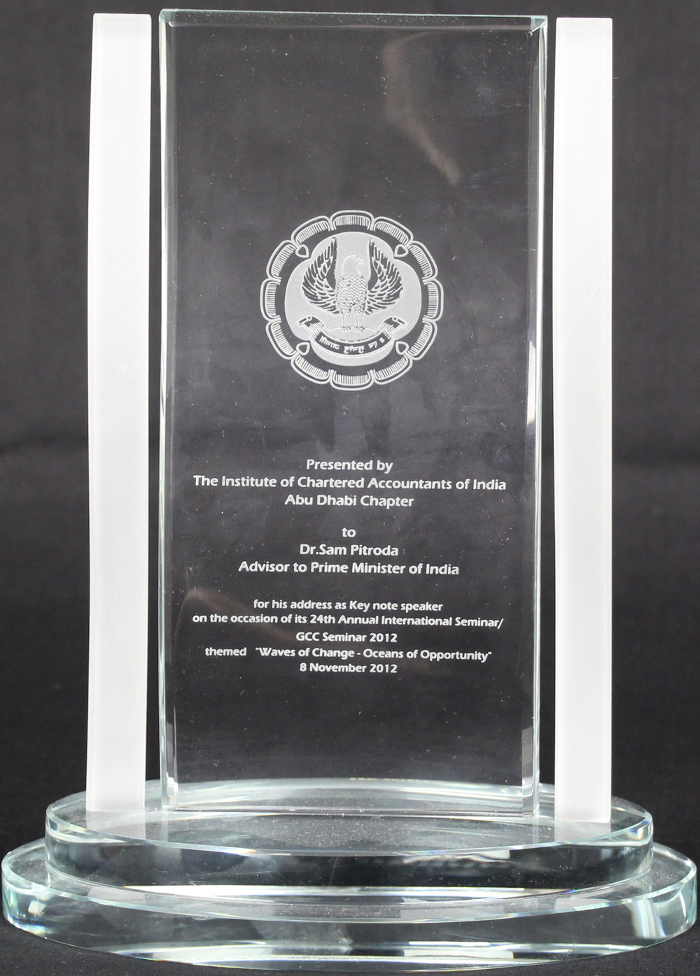 Keynote Speaker Recognition Award, The Institute of Chartered Accountants of India, Abu Dhabi Chapter, 2012