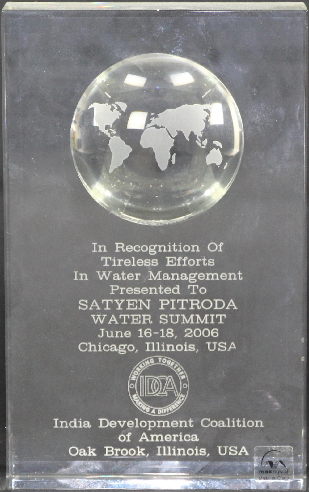In Recognition of Tireless Efforts of Water Management, Water Summit, India Development Coalition of America, Chicago, 2006
