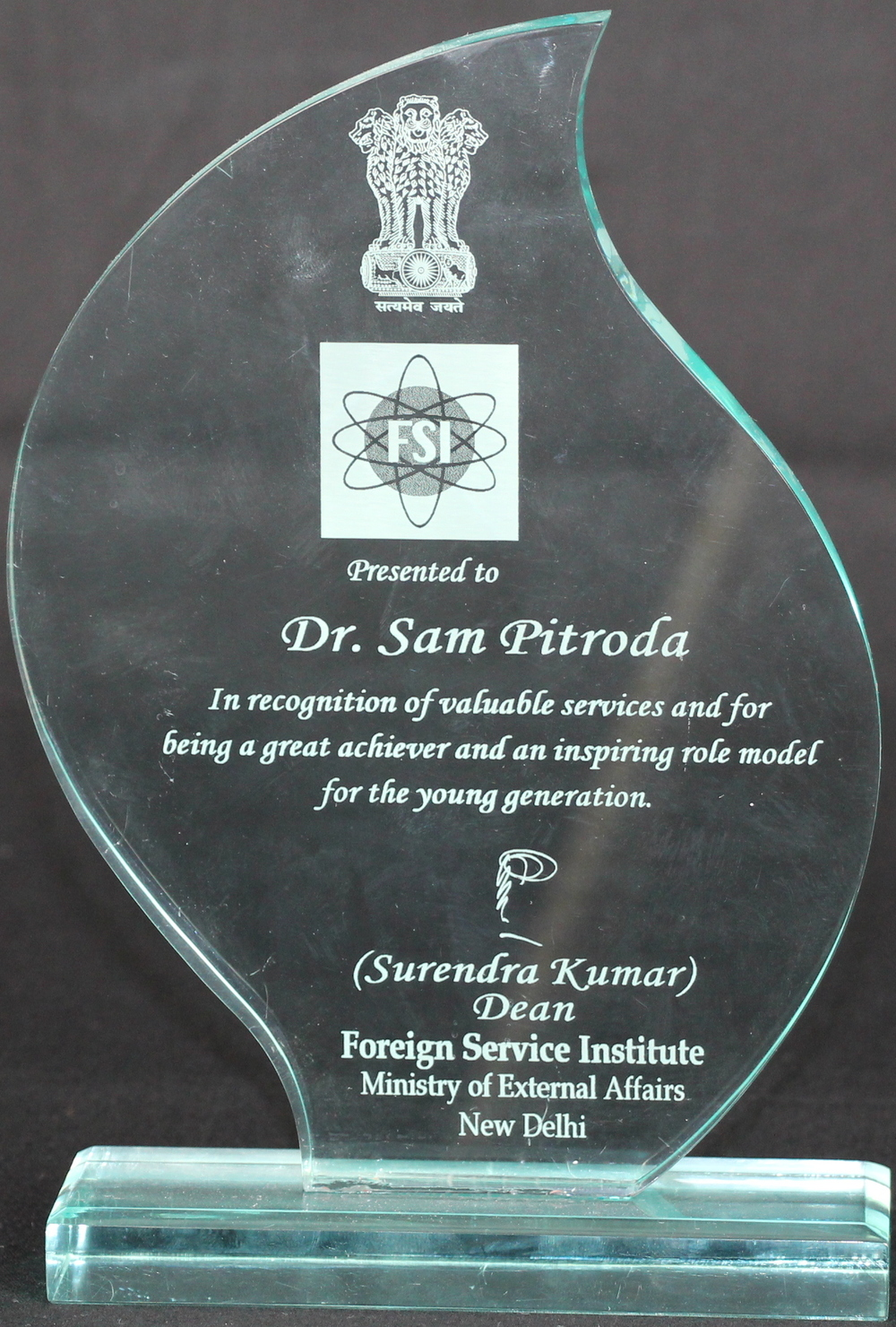 Recognition of Valuable Services, from Surendra Kumar, Dean, Foreign Service Institute, Ministry of External Affairs, New Delhi
